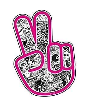 Mano De La Paz Con Rosa Borde Y Blanco Y Negro Stickerbomb Jdm
