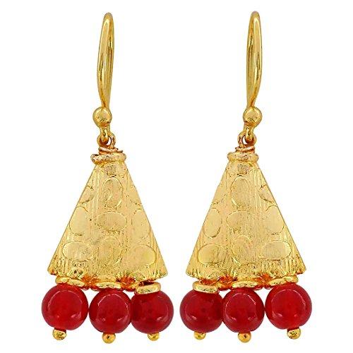 Maayra Ethnic Earrings Red Dangler Drop Dailywear Jewellery by Maayra