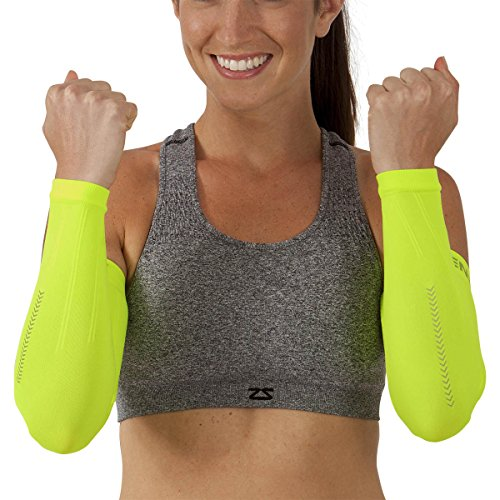 Zensah Reflect Compression Arm Sleeves, Neon Yellow, Large/X-Large