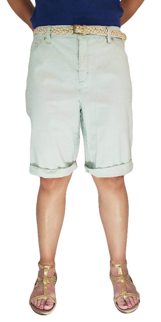 Bandolino Women's Riley Bermuda Belted Shorts (14, Moon Glass) by Bandolino
