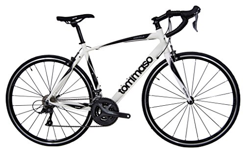 - Tommaso Forcella Endurance Aluminum Road Bike, Carbon Fork, Shimano Claris R2000, 24 Speeds, Aero Wheels - Matte White - Large
