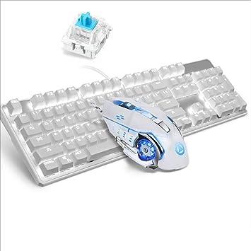 Lflzcp Juego De Teclado Y Mouse Mecánicos Interruptor Azul ...