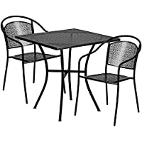 Flash Furniture 28 Square Black Indoor-Outdoor Steel Patio Table Set with 2 Round Back Chairs