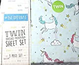Prancing Unicorn Twin Sheet Set Light Blue