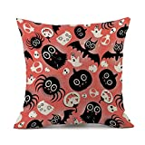 FNKDOR Happy Halloween Sofa Bed Home Decoration Festival Pillow Case Cushion Cover (D,43cm*43cm