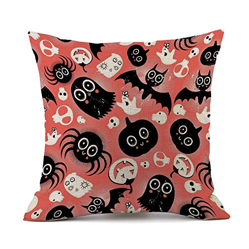 Home Decor Throw Pillowcase for Sofa Cushion Cover,Trick or Treat Halloween Pumpkins Outdoor Decorative Square Accent Zippered]()