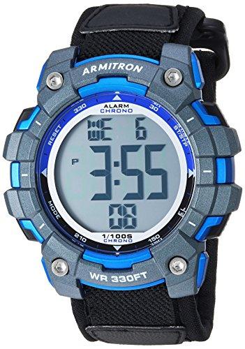 Armitron Sport Men's 40/8435BBK Blue Accented Digital Chronograph Black Nylon Strap Watch