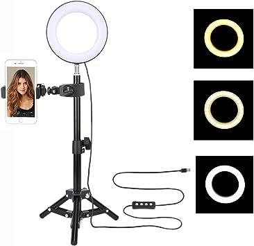 20cm LED dimmbar Ringleuchte Ringlicht mit Handy Stativ für YouTube Makeup