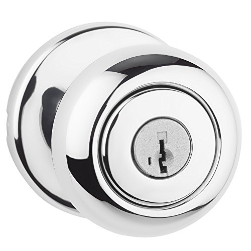 Lever Crystal Handles Finish (Kwikset 400CV 26 SMT 6AL RCS Cove Keyed Entry Knob Featuring SmartKey, Polished Chrome)