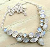 Genuine Moonstone 925 Silver Overlay Handmade Fashion Necklace Jewelry