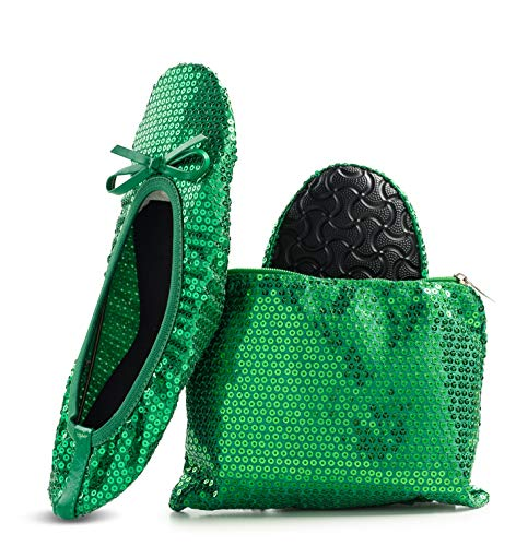 Women's Foldable Portable Travel Ballet Flat Roll Up Slipper Shoes (Medium, Green - Sequins) -