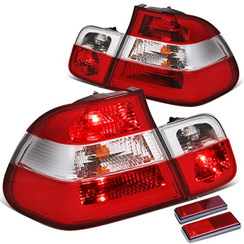 Pair Red/Clear Lens Inner+Outer Tail Light Reverse Lamps for BMW E46 320i 325i 330ix 4DR Sedan 99-05