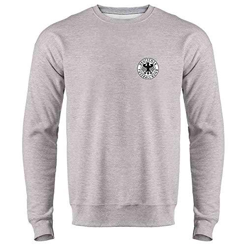 Germany Soccer Futbol Retro Vintage National Team Heather Gray L Mens Fleece Crew Sweatshirt