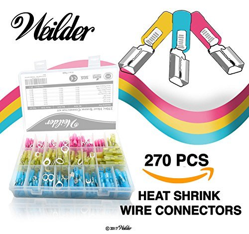 270 PCS Weilder Heat Shrink Wire Connectors Kit - Electrical Terminals - Marine Automotive Crimp Connector - Butt Splices Hook Fork Ring Spade Assortment
