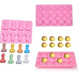 3 Pcs Pink Big Shape Silicone Mold for Birthday Single Party Hilarious Funny Baking Pan Handmade DIY Mousse Chocolate Fondant Soap Cake Ice Cube Mould Tool Novelty Cake Pans