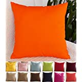 """TangDepot Cotton Solid Throw Pillow Covers, 14"""" x 14"""" , Orange"""