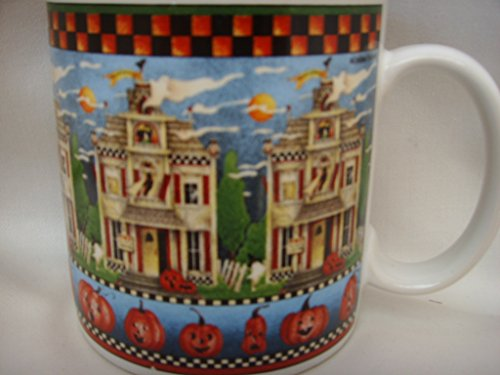 Debbie Mumm Sakura Halloween Haunted House Pumpkin Coffee Tea Cup Mug Collectible]()