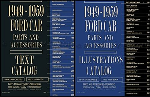 Accessory Catalog Set - 1949 THRU 1959 FORD CAR FACTORY ILLUSTRATED & TEXT PARTS & ACCESSORIES 2 VOLUME CATALOG SET