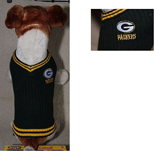 Green Bay Packers NFL Dog Sweater Vest Pet Embroidered Football Sizes Xs- L