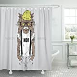 really cool shower heads Emvency Shower Curtain 72x72 Animal of Cat Dressed Up in with Quote Hipster Cool Tattoo Head Male Glasses Mildew Resistant Bathroom
