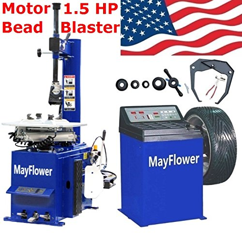 Mayflower - 1.5 HP Tire Changer Wheel Changers Machine Combo Balancer Rim Clamp 950 680 Bead Blaster/1 Year Full (Air Rim Clamp Tire Changer)
