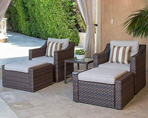 SOLAURA Sofa Sets 5-Piece Outdoor Furniture Set Brown Wicker Lounge Chair & Ottoman with Neutral Beige Cushions & Glass Coffee Side Table (Patio Outdoor Furniture Costco)