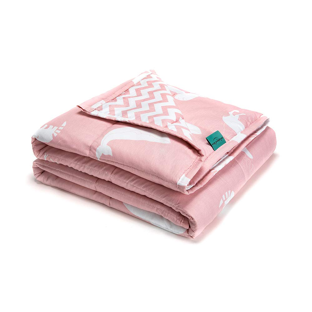 Weighted Idea Kids Weighted Blanket 7 lbs 41'' x 60'' for Kids and Teens (100% Natural Cotton, Pink Animal) by Weighted Idea