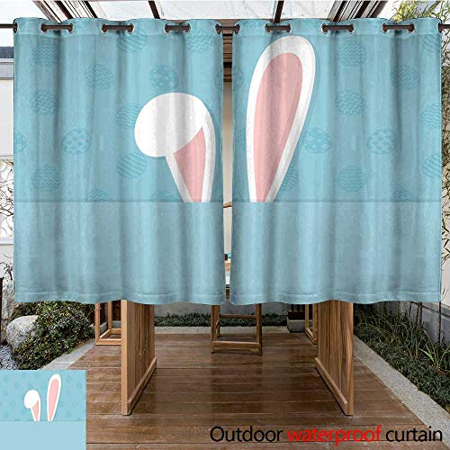 RenteriaDecor Outdoor Curtains for Patio Sheer Easter Template of a Postcard with Bunny on Background with Eggs Vector W84 x L72