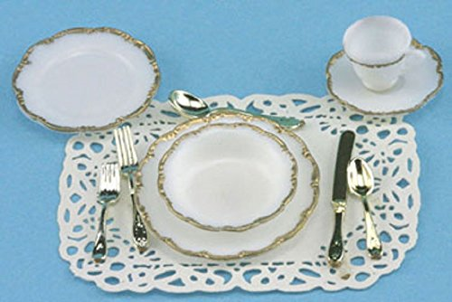 Miniature One Place Setting- Silver Trim ()