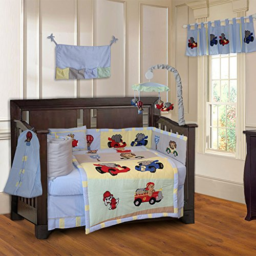 Animal Zoom Car Racing Baby 10 Piece Crib Bedding Set Crib Bedding Cars