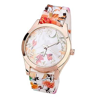 Tonsee Leather Rivet Bracelet Quartz Wrist Watch (Flower #Orange)