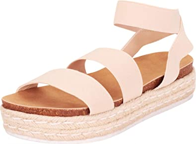 Cambridge Select Womens Open Toe Stretch Strappy Chunky Espadrille Flatform Sandal