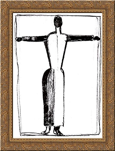 - Figure in the form of a cross with raised hands 20x24 Gold Ornate Wood Framed Canvas Art by Malevich, Kazimir