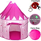 TentTrix Kids Play Tent - Indoor / Outdoor Princess Castle Tent - GLOW IN THE DARK Stars & Flashlight, Children & Girls Play Tent - Birthday or Christmas Gift