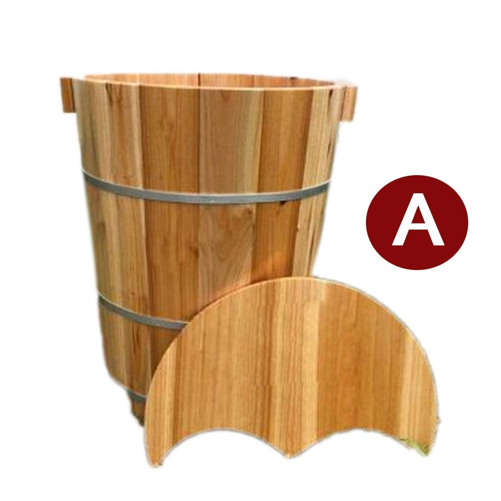 Tub Foot Bath, Spa Bucket,Household Chinese fir Foot-Soaking Barrel ,Heating Wooden Basin,Suitable for Adult Kids use (Size : A) by Tub