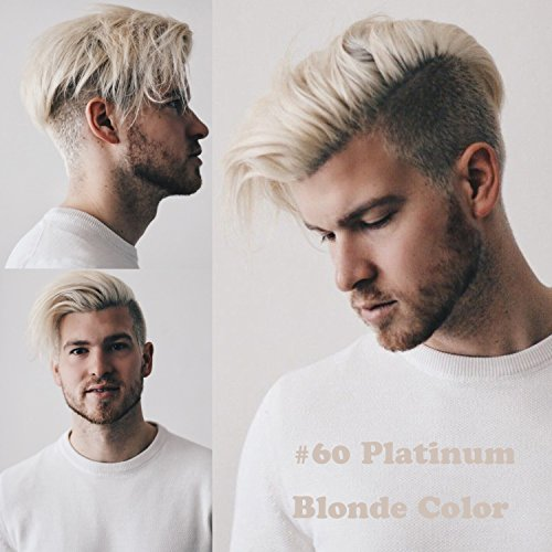 Rossy&Nancy European Virgin Human Hair Toupee for Men Mono Swiss Lace with PU Around Replacement Hairpiece #60 White Platinum Blonde Color