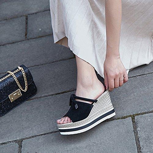 Zapatillas pescado pajaritas cuatro cm de 35 de laderas 10 Sandalias bocas AJUNR elegante Moda mujer Zapatos y Transpirable Treinta negro qU08R1