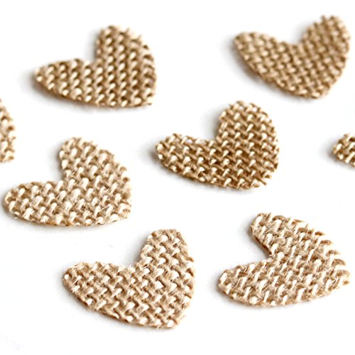 Andaz Press Burlap Fabric Confetti Hearts, 100-Pack, For Wedding Baby Shower Engagement Anniversary Rustic Kraft Brown Colored Table Decorations Party Supplies