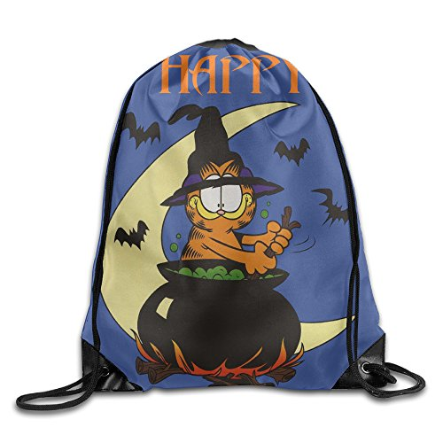 Comic Strip Halloween Makeup (Drawstring Backpack Bag Garfield Happy Halloween Trick Or Treat Nylon Home Travel Sport Storage)