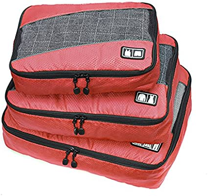 d3163816f05f Belsmi 3 Set Durable Packing Cubes Set - Waterproof Compression Mesh Travel  Luggage Packing Organizer (Solid Red)