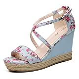 Fanshionable Dunhu Women's Fabric Printed Blossom Wedges