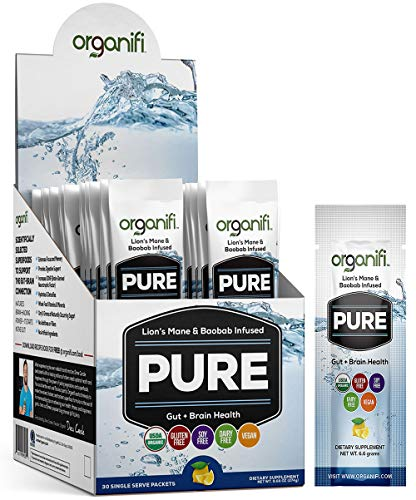 Organifi: Pure Smart Packs - Organic Brain Boost Superfood Solution - 30 Single Serve Packets Per Box - Lemon Flavor - Revitalize & Alkalize for Daily Mental Focus - Gut-Cleansing - Protein 100% Booster Soy