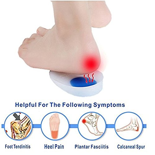 Silicone Heel Cups, Heel Cushion Inserts, Heel Pads - Reduce Plantar Fasciitis, Sore Heel Pain Relief Protectors, Bone Spur & Achilles Pain - Shock Absorbing Support Pads (Womens 4.5-8.5)