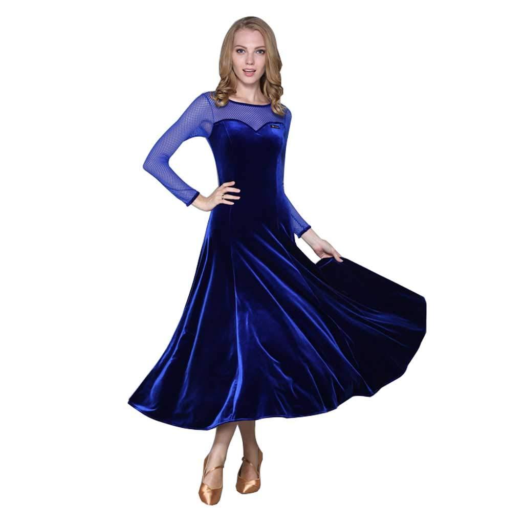 女性の大人のモダンダンスコスチュームロングスリーブダンスドレス B07HGZFPHQ XXL|Royal Blue Royal Blue XXL