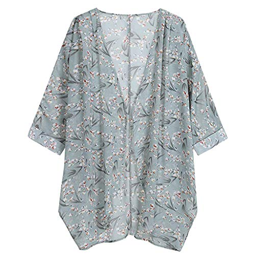 (Chiffon Cardigans for Women,ONLY TOP Womens Floral Chiffon Kimono Cardigans Loose Beach Cover Up Half Sleeve Tops Green)