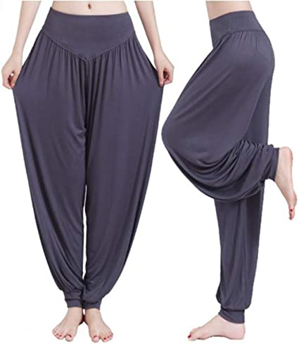 Leisial Pantalones de Yoga Algodón Suave Piernas Pantalones Anchos Sólido Color Elástico Pretina Pantalones Bombachos de Fitness Bailan Deportivo para Mujeres, Talla L Gris Oscuro: Amazon.es: Ropa y accesorios