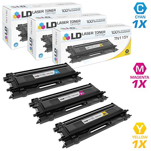 LD Remanufactured Brother TN115 (TN110) Set of 3 High Yield Color Laser Toner Cartridges: 1 TN115 Cyan, 1 TN115 Magenta, and 1 TN115 Yellow for DCP, HL and MFC printer (Tn115 Yellow Toner)