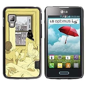 Caucho caso de Shell duro de la cubierta de accesorios de protección BY RAYDREAMMM - LG Optimus L5 II Dual E455 E460 - Apartment Window Winter Love Xoxo