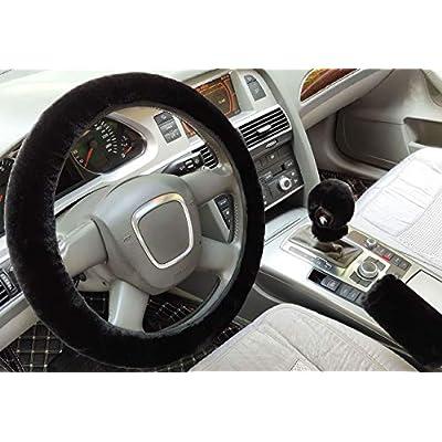 ixiton 3Pcs/Set Fashion Faux Wool Fur Furry Steering Wheel Cover,Short Hair Soft Fluffy Handbrake Cover,Gear Shift Cover,Universal Thickening Fuzzy Warm Non-Slip Auto Interior (Automatic,Black): Automotive