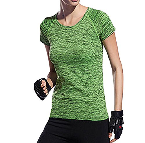 Activewear Short Sleeve, Women Moisture Wicking Athletic T Shirts, Light Weight and Comfortable, For Any Sport, Color Green